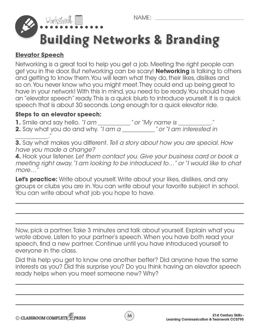 Learning Communication & Teamwork: Building a Personal Brand & Elevator Speech Gr. 3-8+ - WORKSHEETS - eBook