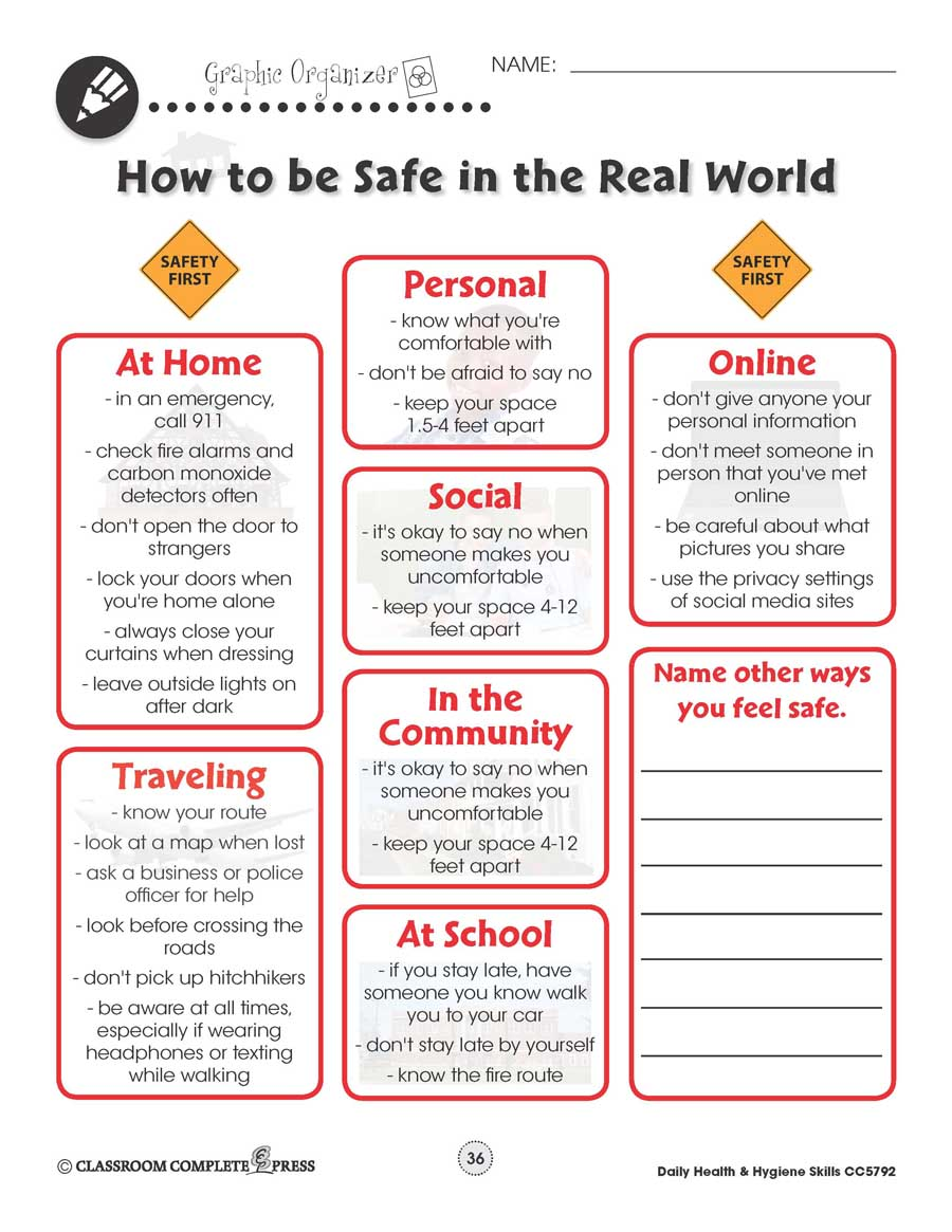 Daily Health & Hygiene: Personal Safety Gr. 6-12+ - WORKSHEETS - eBook
