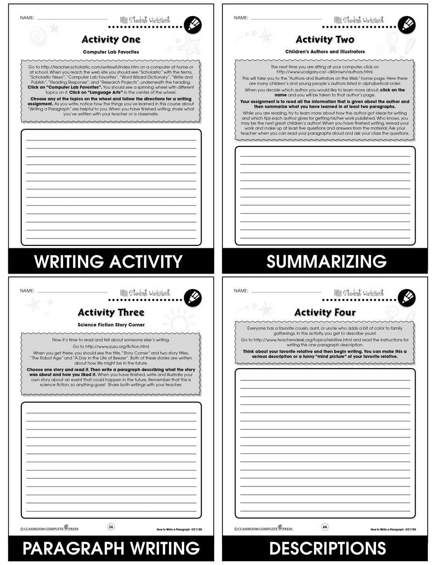How to Write a Paragraph Gr. 5-8 - BONUS WORKSHEETS - eBook