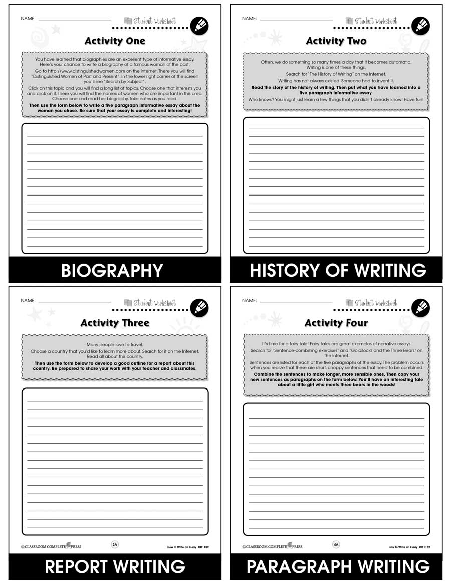 How to Write an Essay Gr. 5-8 - BONUS WORKSHEETS - eBook