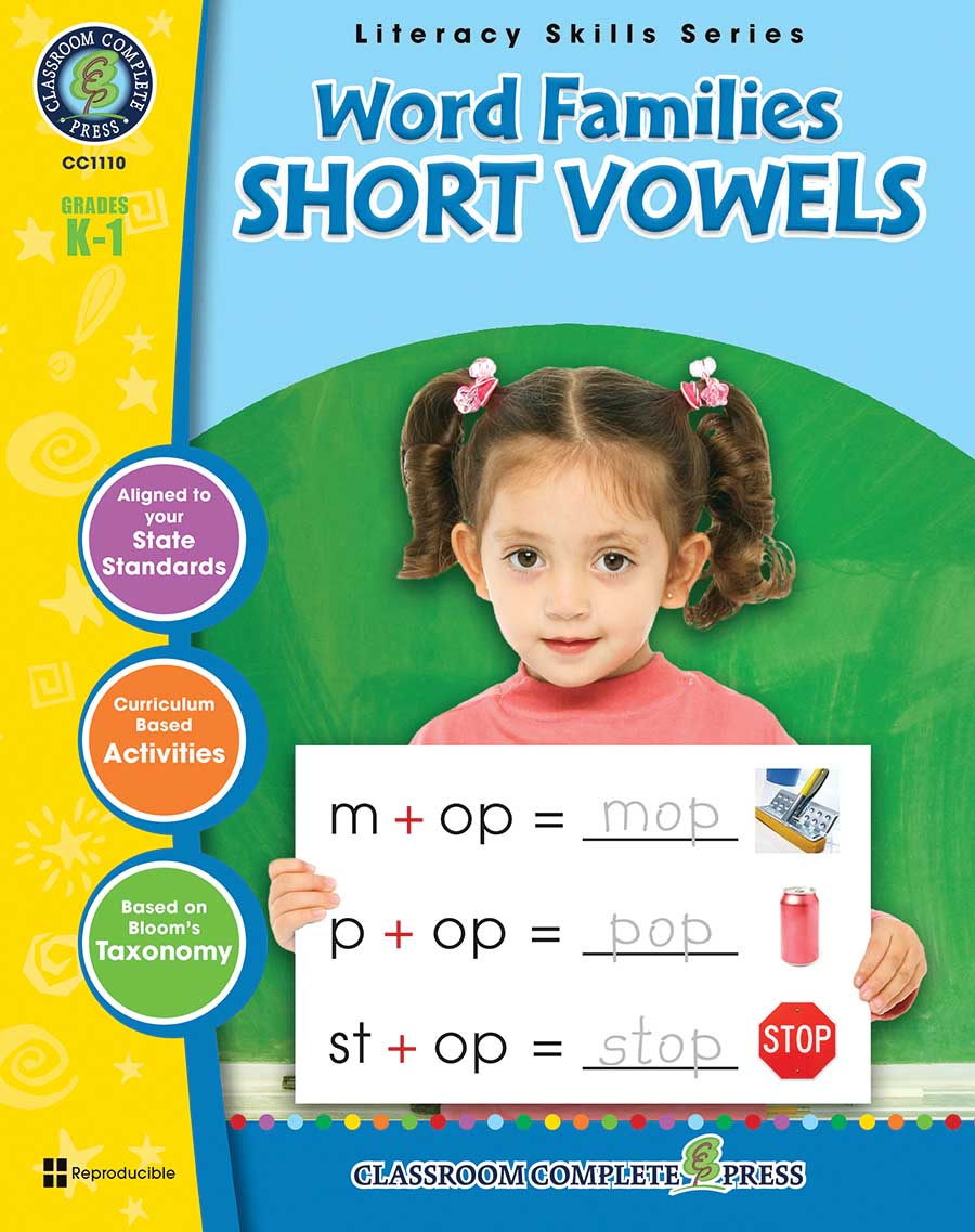 Word Families - Short Vowels Gr. PK-2 - print book