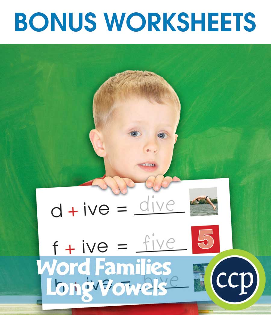 Word Families - Long Vowels Gr. PK-2 - BONUS WORKSHEETS - eBook