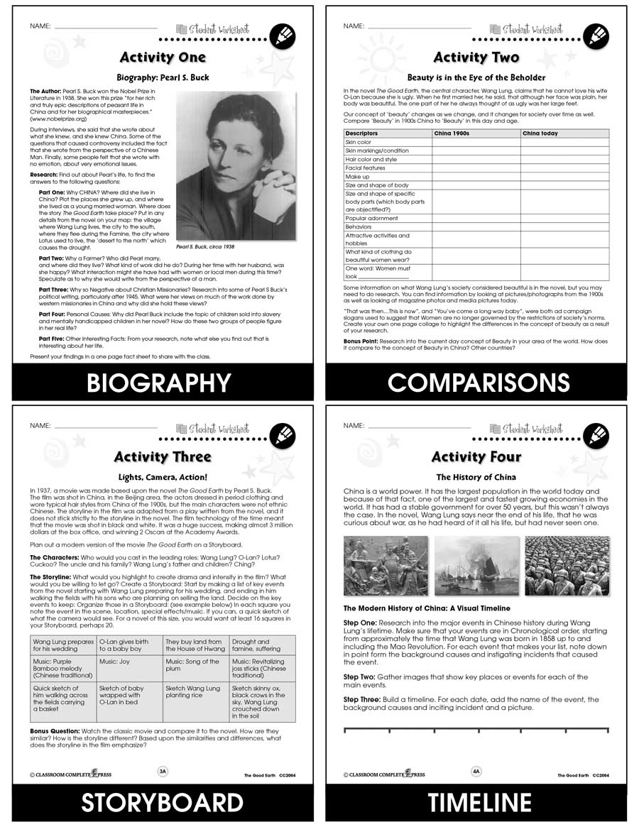 The Good Earth - Literature Kit Gr. 9-12 - BONUS WORKSHEETS - eBook