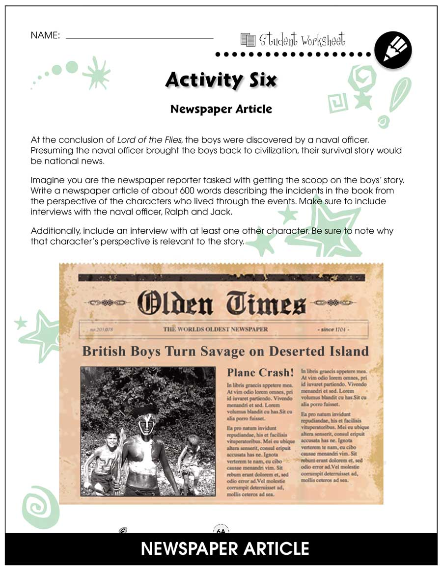 Lord of the Flies - Literature Kit Gr. 9-12 - BONUS WORKSHEETS - eBook