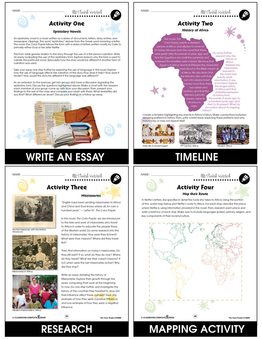 The Color Purple - Literature Kit Gr. 9-12 - BONUS WORKSHEETS - eBook