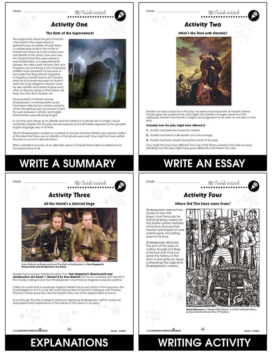 Hamlet - Literature Kit Gr. 9-12 - BONUS WORKSHEETS - eBook