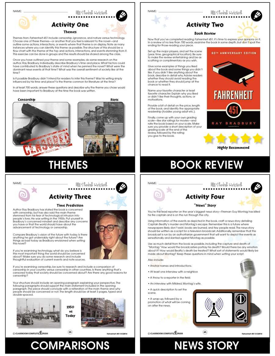 Fahrenheit 451 Bonus Worksheets Grades 9 To 12 Ebook Bonus