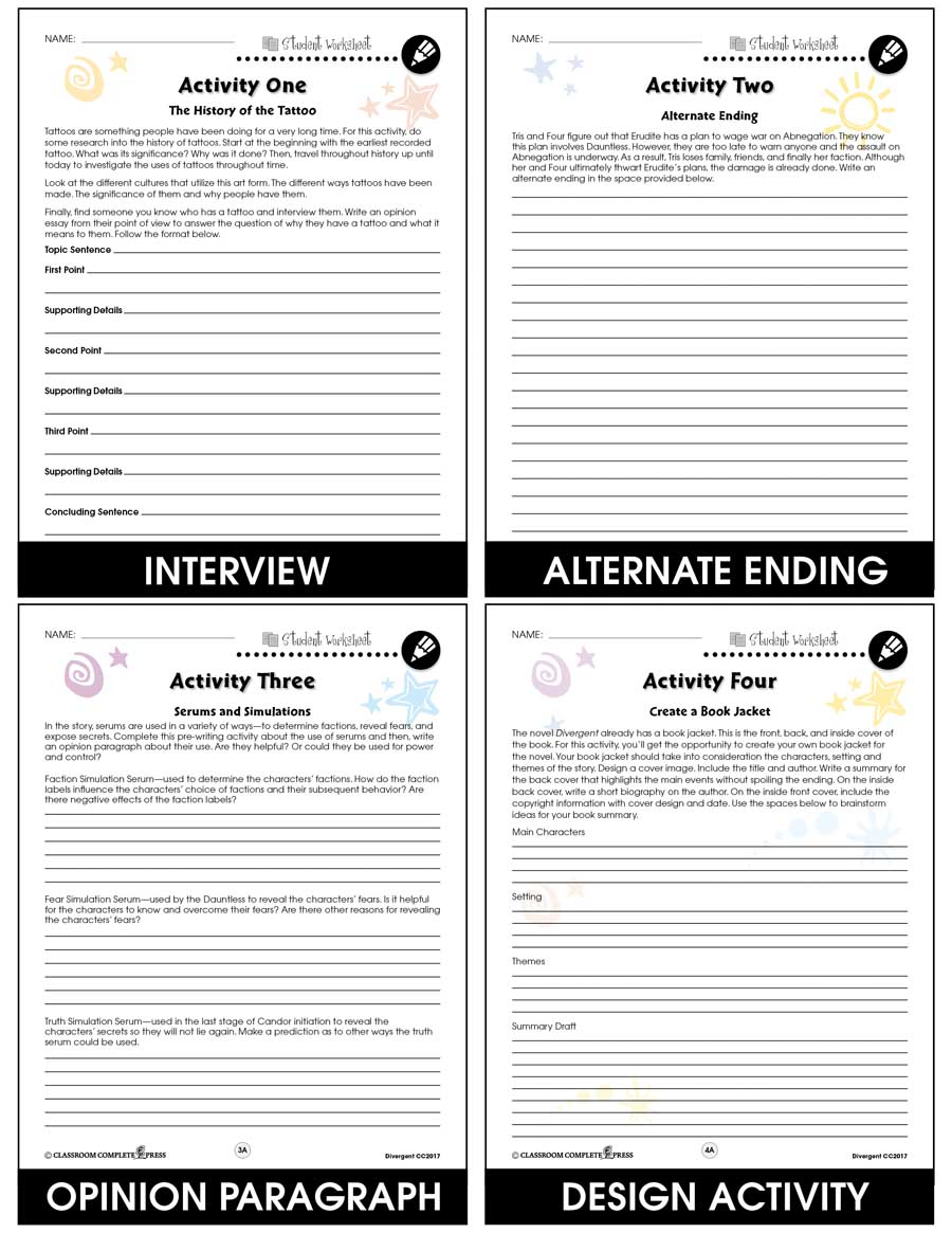 Divergent - Literature Kit Gr. 9-12 - BONUS WORKSHEETS - eBook
