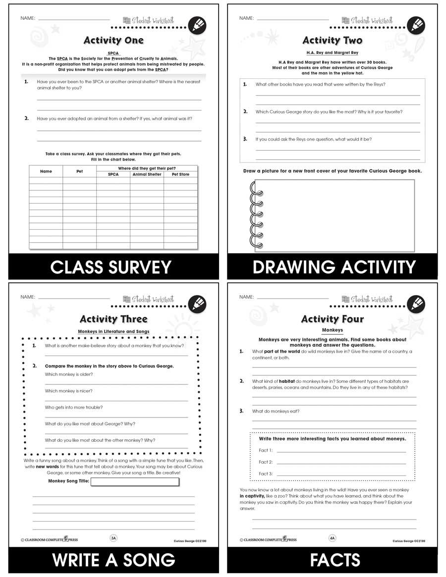 Curious George - BONUS WORKSHEETS - Grades 1 to 2 - eBook - Bonus ...