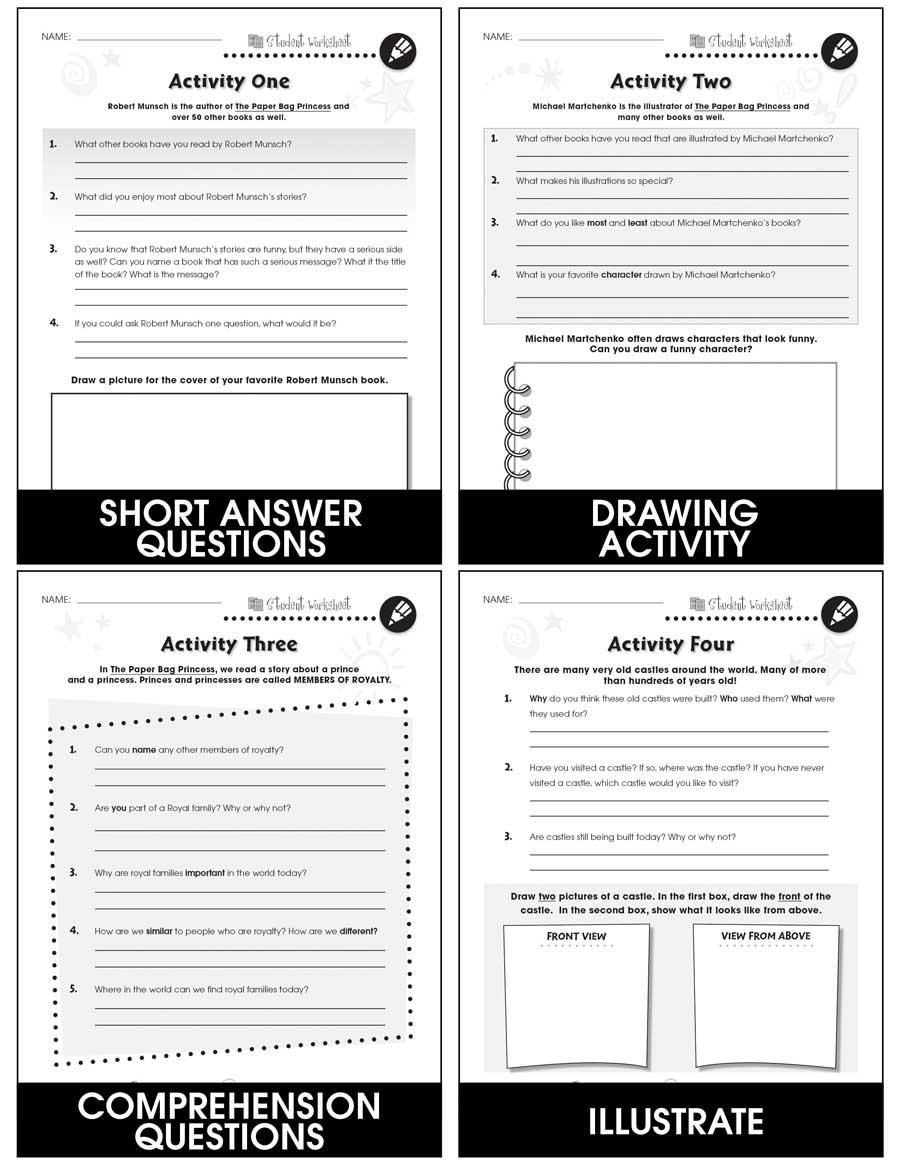 paper bag princess bonus worksheets grades 1 to 2. Black Bedroom Furniture Sets. Home Design Ideas