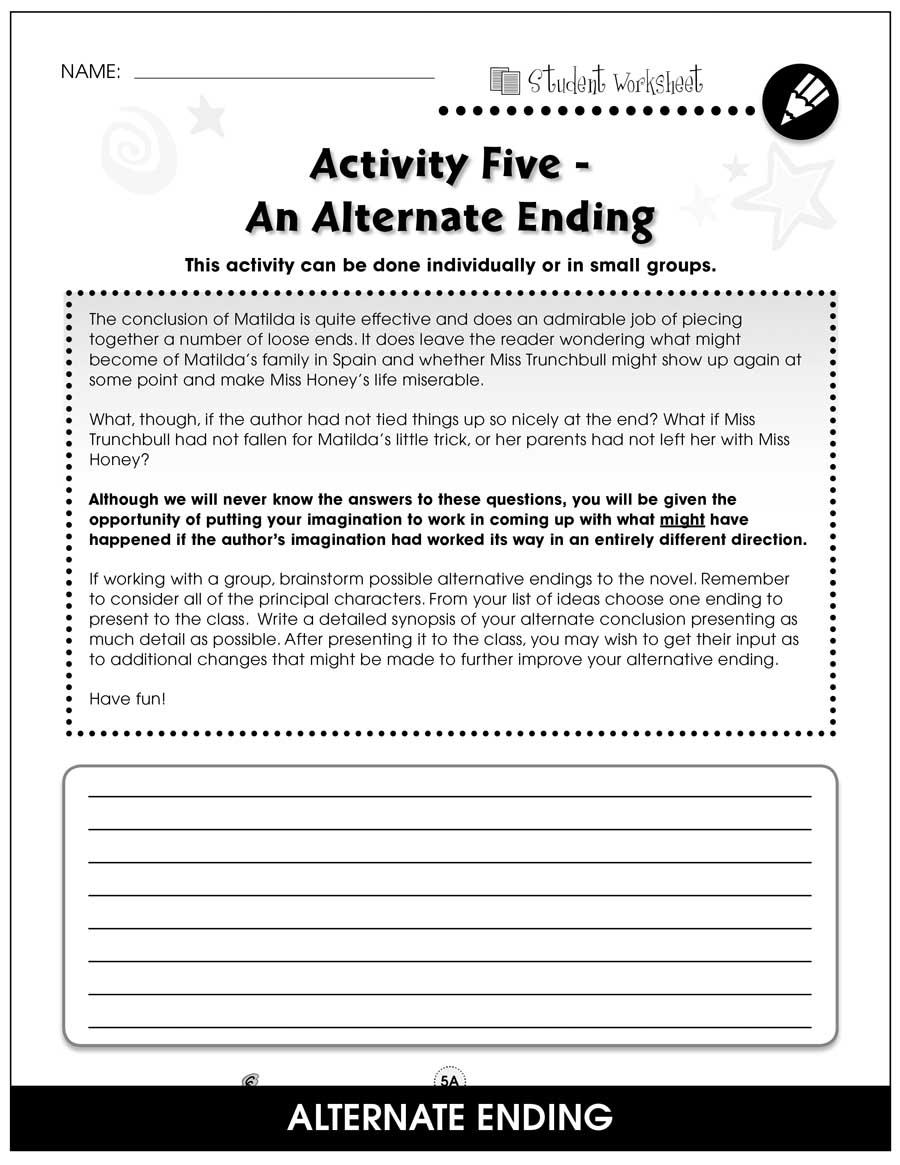 Matilda Bonus Worksheets Grades 3 To 4 Ebook Bonus