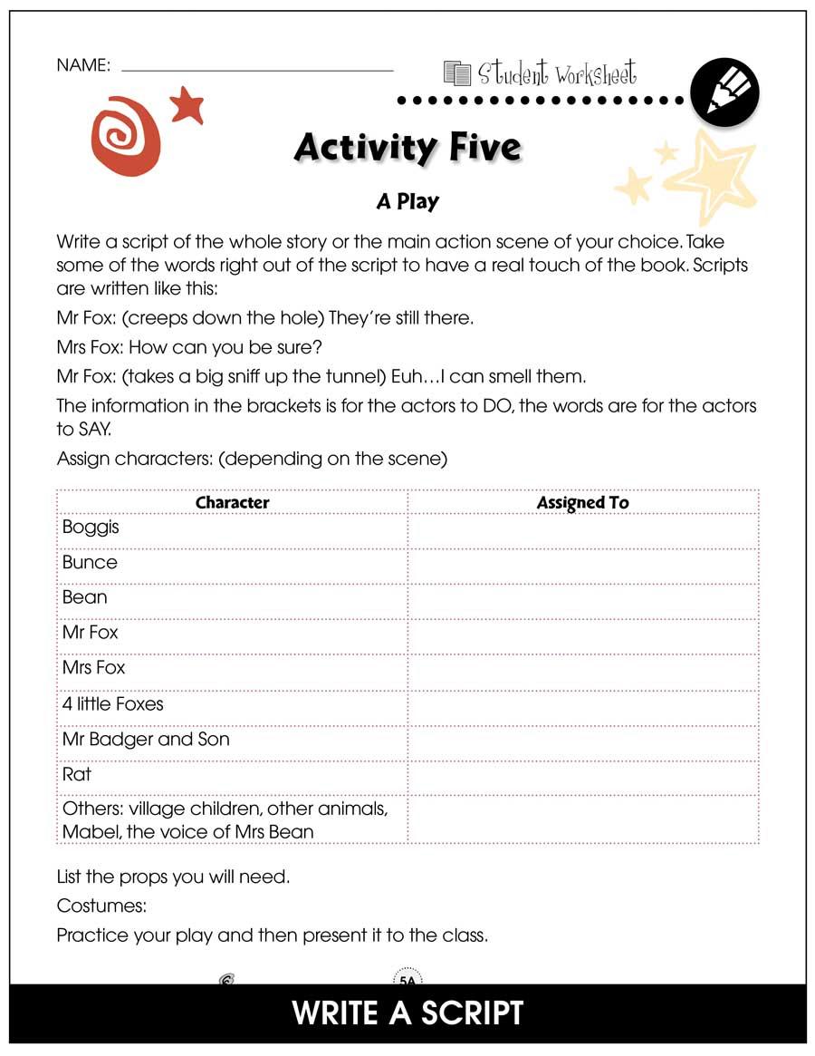 Fantastic Mr Fox Bonus Worksheets Grades 3 To 4 Ebook Bonus Worksheets Ccp Interactive