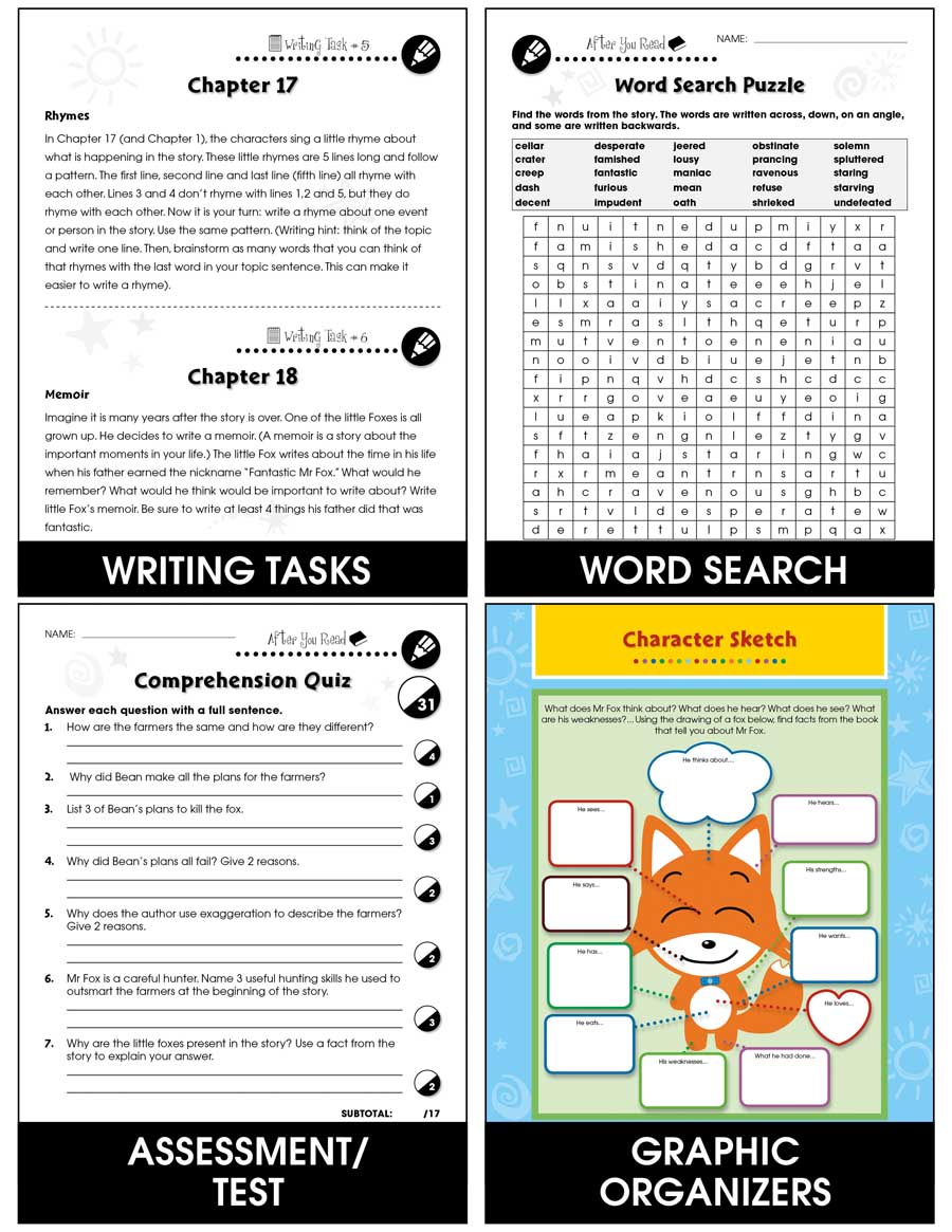 Fantastic Mr Fox Novel Study Guide Grades 3 To 4 Print Book Lesson Plan Ccp Interactive