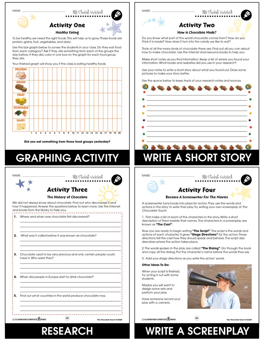 The Chocolate Touch - Literature Kit Gr. 3-4 - BONUS WORKSHEETS - eBook