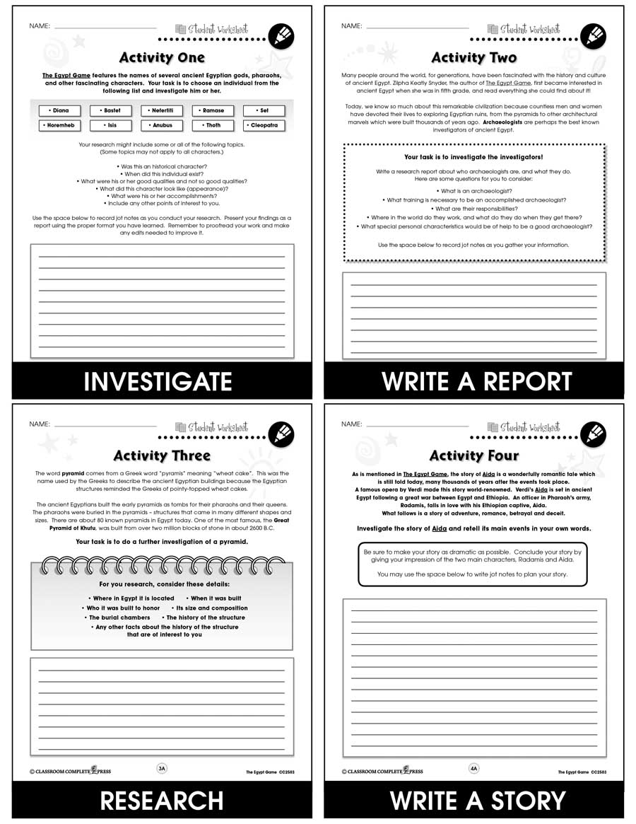 The Egypt Game - Literature Kit Gr. 5-6 - BONUS WORKSHEETS - eBook