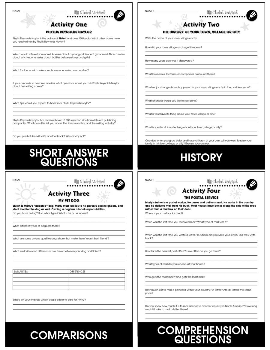 Shiloh - Literature Kit Gr. 5-6 - BONUS WORKSHEETS - eBook