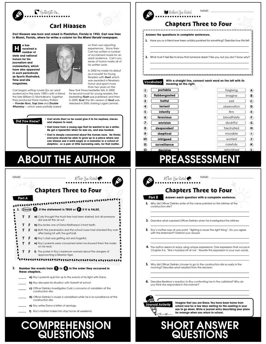 Hoot - Novel Study Guide - Grades 5 to 6 - Print Book - Lesson Plan
