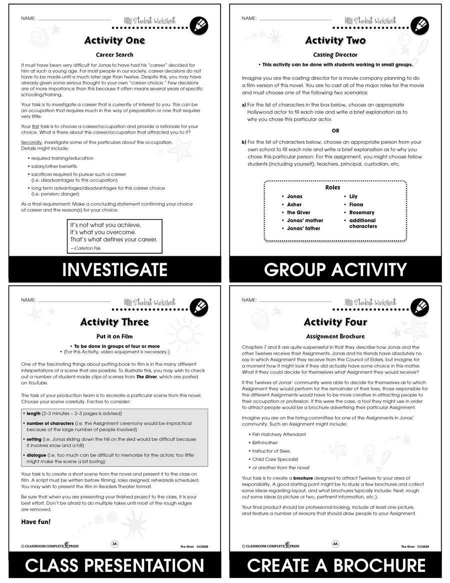 Worksheets The Giver Worksheets the giver bonus worksheets grades 5 to 6 ebook literature kit gr ebook