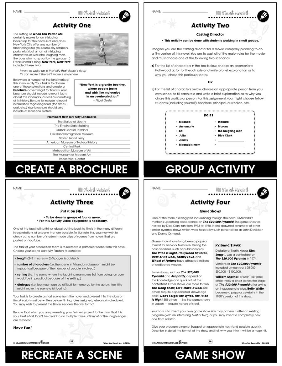 When You Reach Me - Literature Kit Gr. 5-6 - BONUS WORKSHEETS - eBook