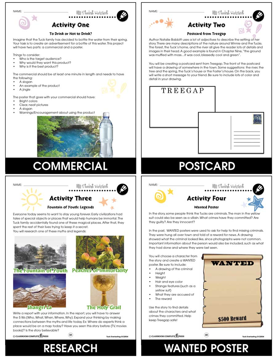 Tuck Everlasting - Literature Kit Gr. 5-6 - BONUS WORKSHEETS - eBook