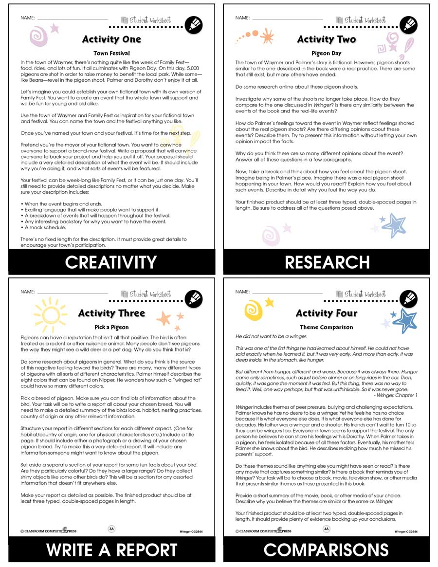 Wringer - Literature Kit Gr. 5-6 - BONUS WORKSHEETS - eBook