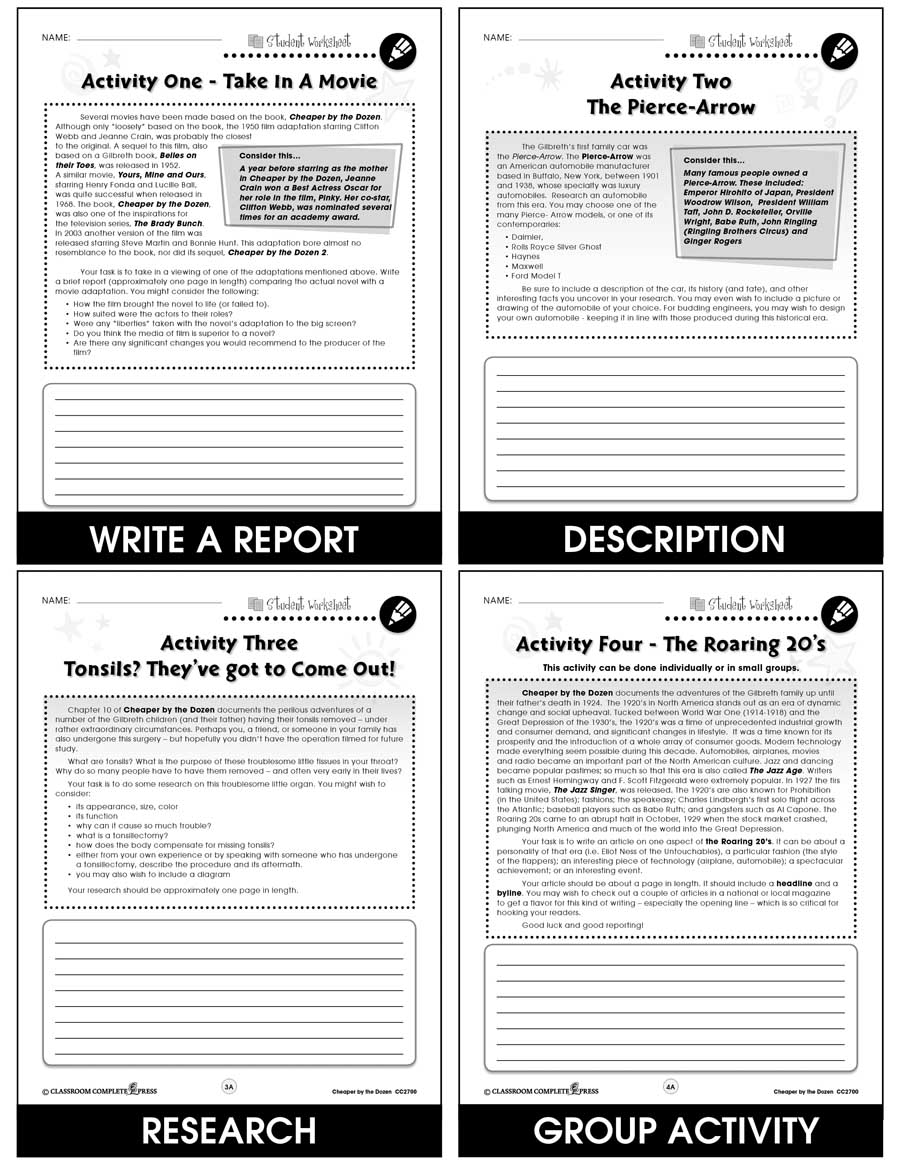 Cheaper by the Dozen - Literature Kit Gr. 7-8 - BONUS WORKSHEETS - eBook