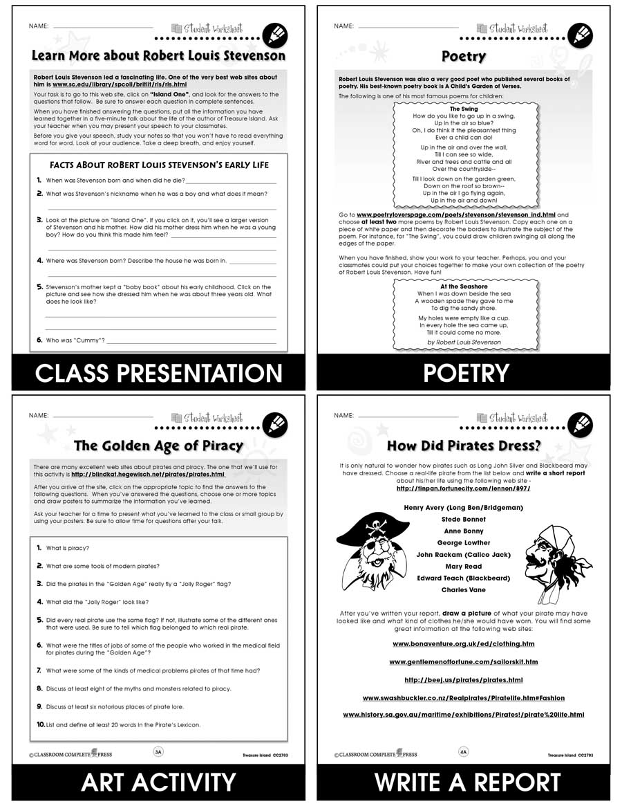 Treasure Island - Literature Kit Gr. 7-8 - BONUS WORKSHEETS - eBook