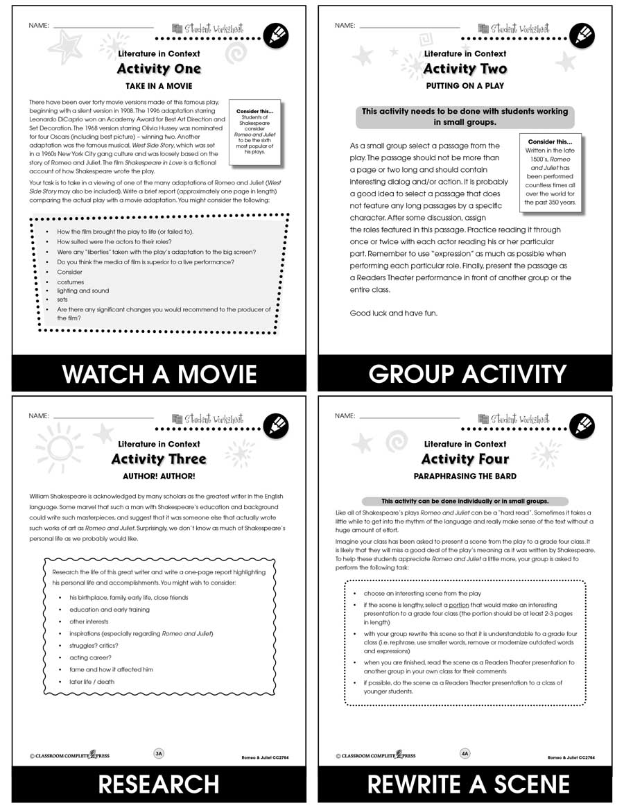 Romeo Juliet Bonus Worksheets Grades 7 To 8 Ebook Bonus