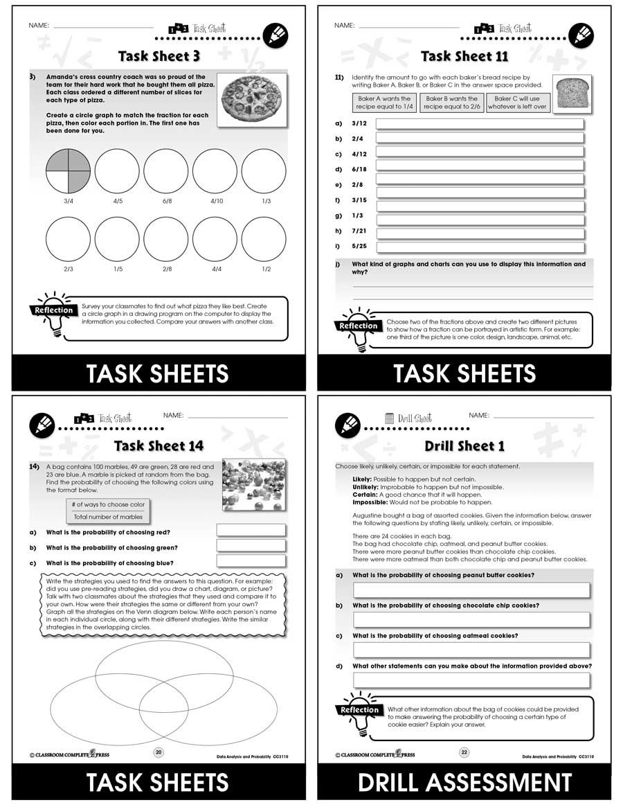 Data Analysis & Probability - Task Sheets Gr. 3-5 - print book