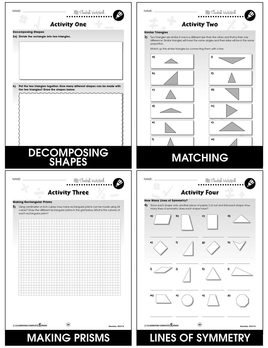 Geometry - Task Sheets Gr. 6-8 - BONUS WORKSHEETS - eBook