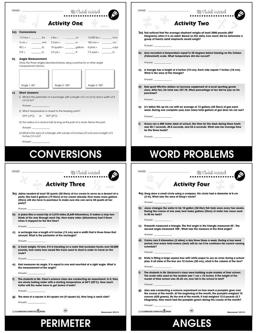 Measurement Task Sheets Gr 6 8 Bonus Worksheets Grades 6 To 8