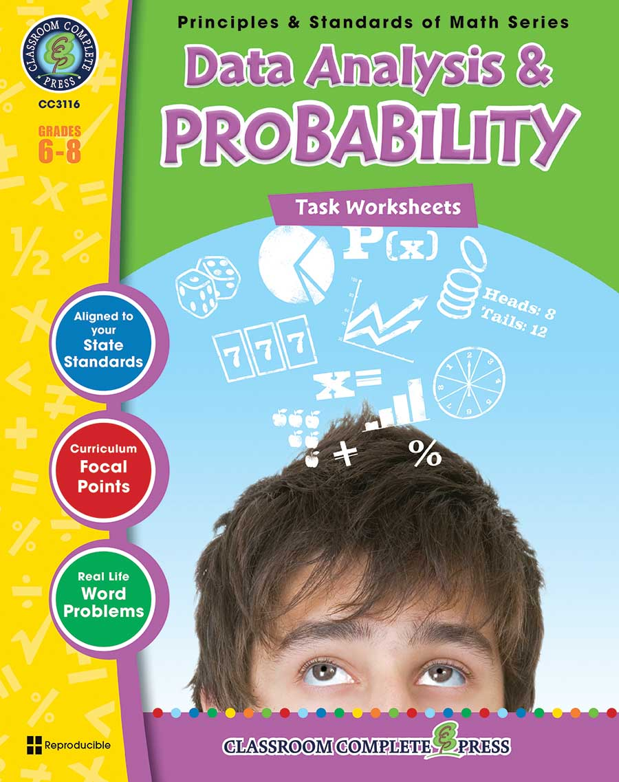 Data Analysis & Probability - Task Sheets Gr. 6-8 - print book