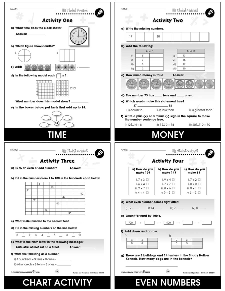 Number & Operations - Drill Sheets Gr. PK-2 - BONUS WORKSHEETS - eBook