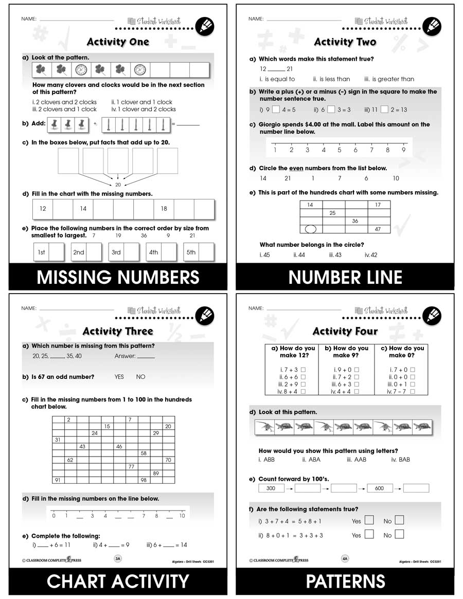 Algebra - Drill Sheets Gr. PK-2 - BONUS WORKSHEETS - eBook