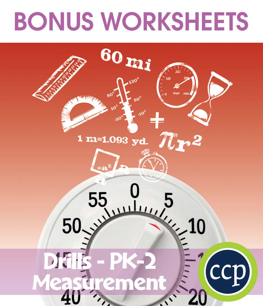 Measurement - Drill Sheets Gr. PK-2 - BONUS WORKSHEETS - eBook