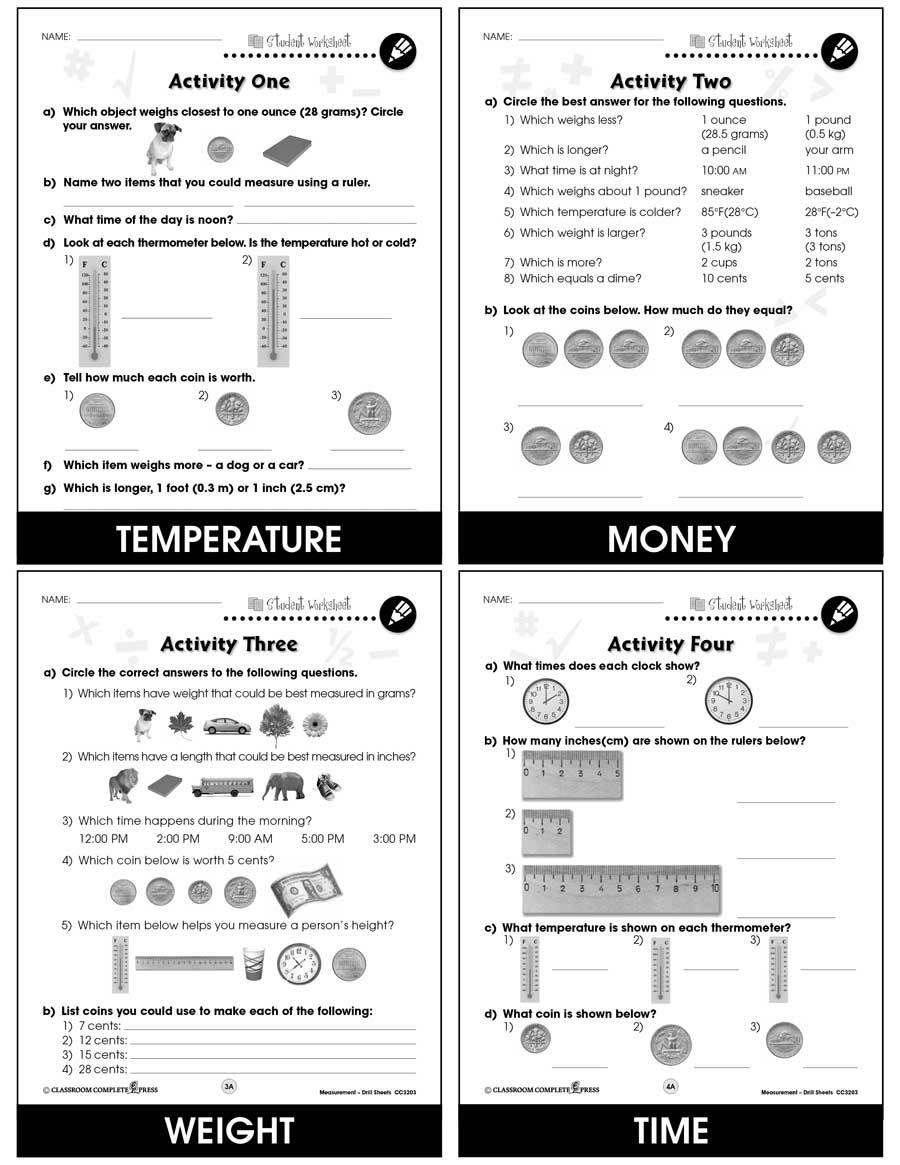 Measurement Drill Sheets Gr Pk 2 Bonus Worksheets Grades Pk