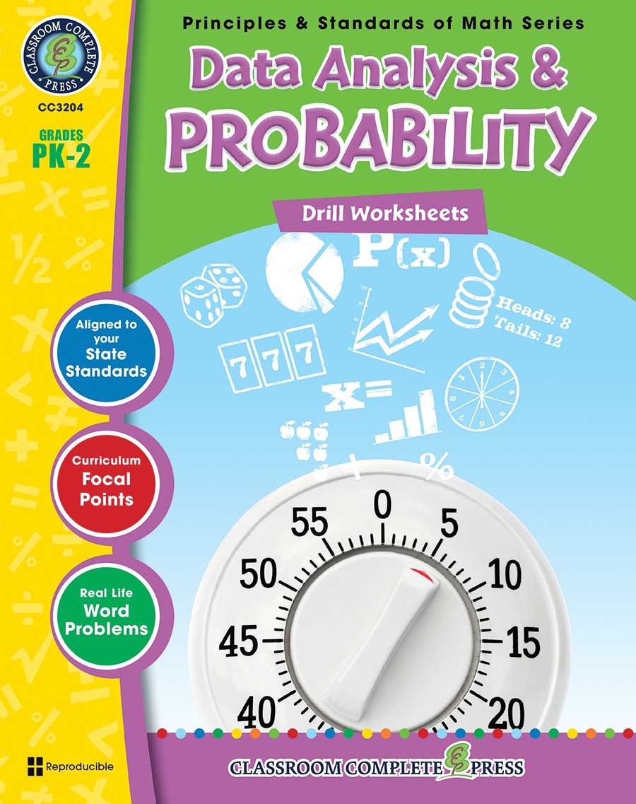 Data Analysis & Probability - Drill Sheets Gr. PK-2 - print book