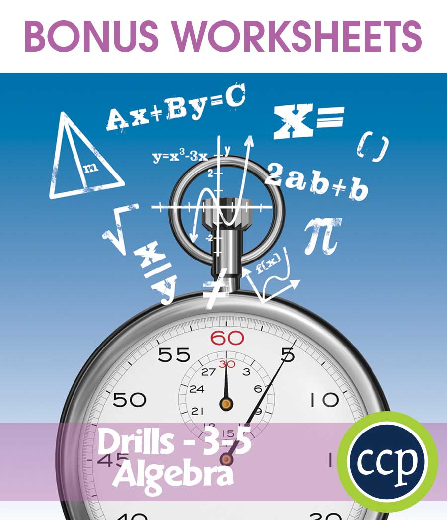 Algebra - Drill Sheets Gr. 3-5 - BONUS WORKSHEETS - eBook