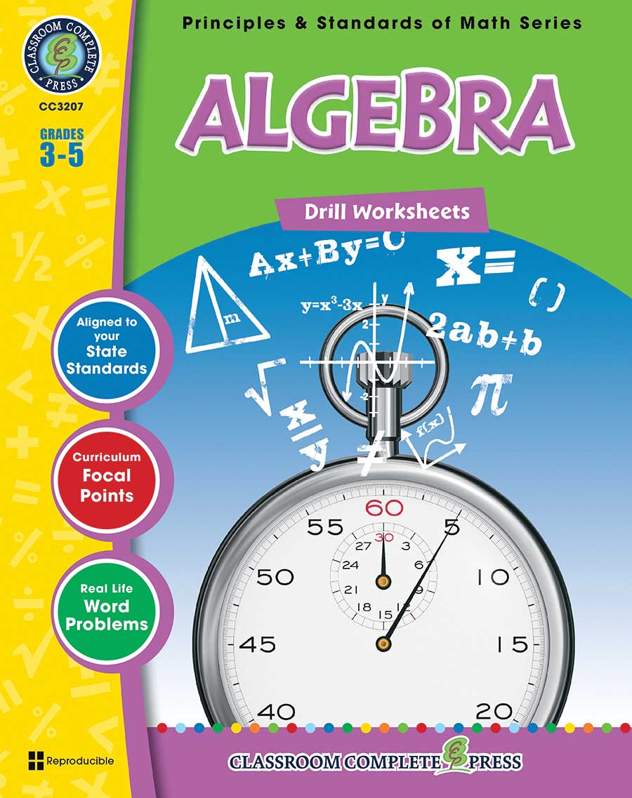 Algebra - Drill Sheets Gr. 3-5 - print book