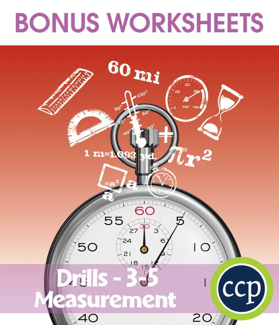 Measurement - Drill Sheets Gr. 3-5 - BONUS WORKSHEETS - eBook