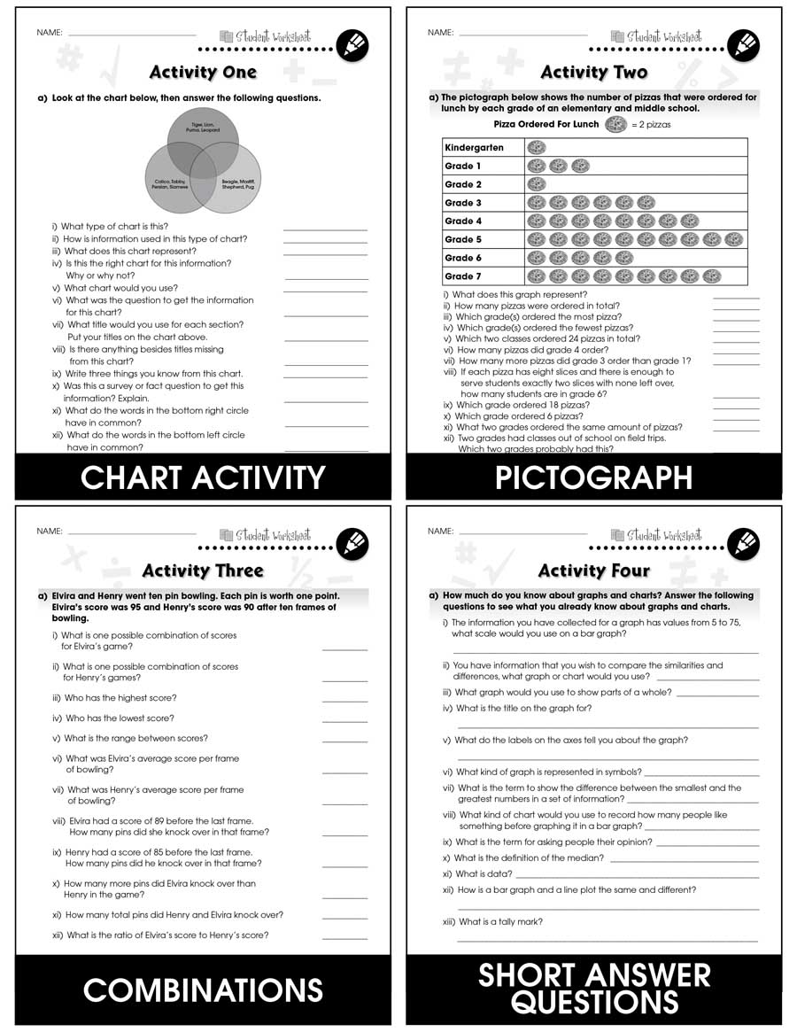Data Analysis & Probability - Drill Sheets Gr. 3-5 - BONUS WORKSHEETS - eBook