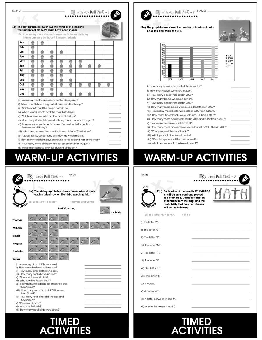 Data Analysis & Probability - Drill Sheets Gr. 3-5 - print book