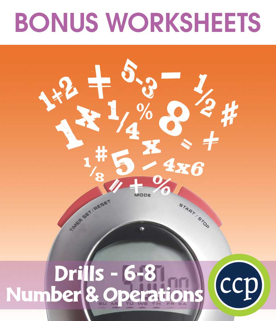 Number & Operations - Drill Sheets Gr. 6-8 - BONUS WORKSHEETS - eBook