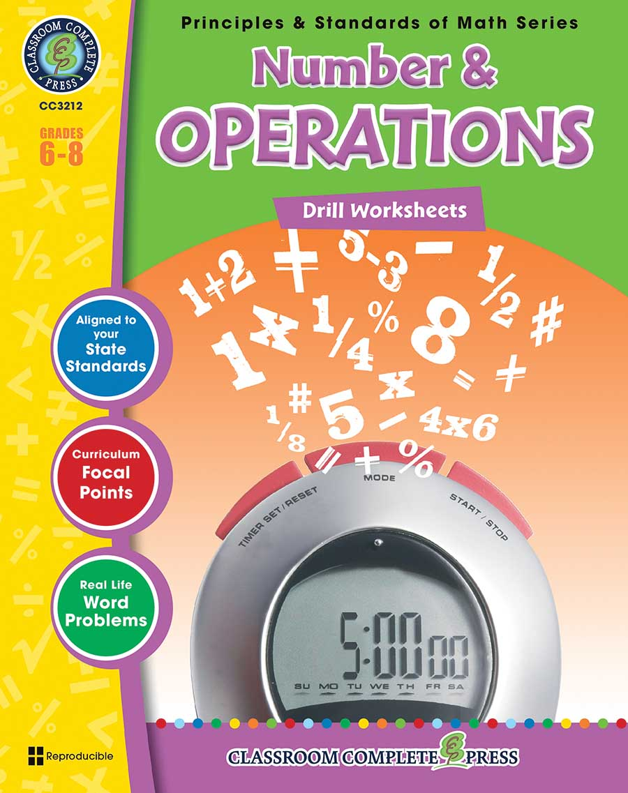 Number & Operations - Drill Sheets Gr. 6-8 - print book