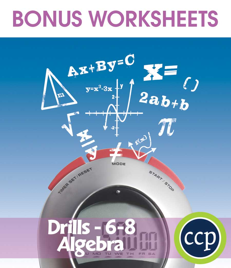 Algebra - Drill Sheets Gr. 6-8 - BONUS WORKSHEETS - Grades 6 to 8 ...