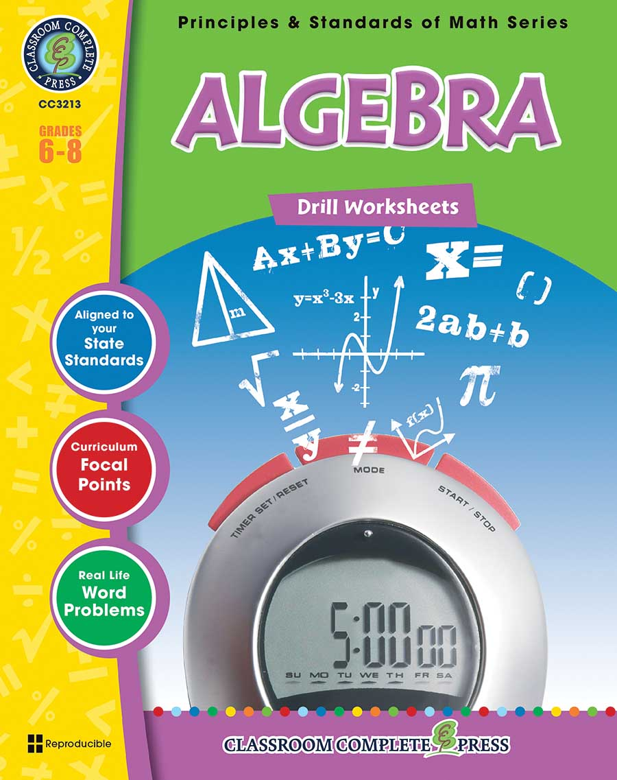 Algebra - Drill Sheets Gr. 6-8 - print book
