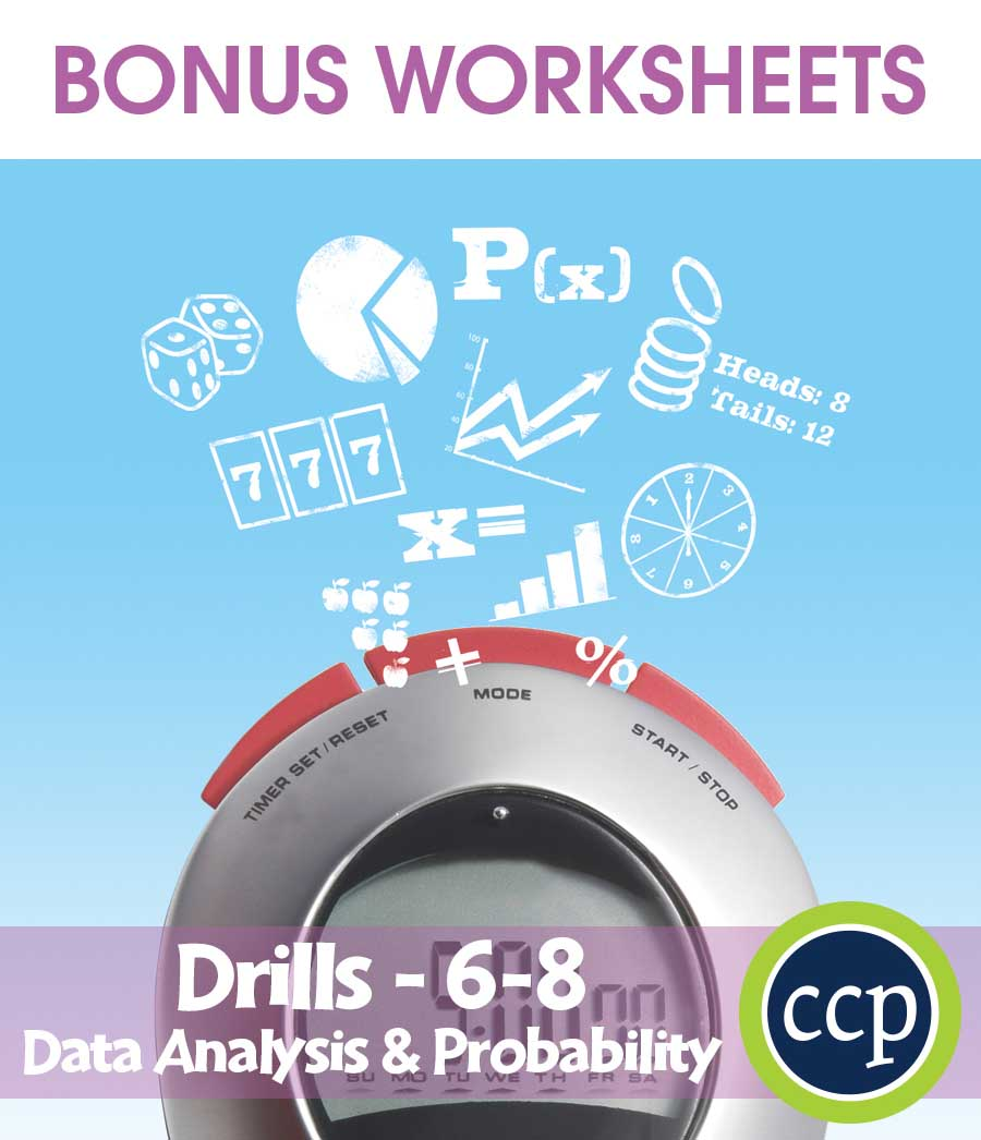 Data Analysis & Probability - Drill Sheets Gr. 6-8 - BONUS WORKSHEETS - eBook