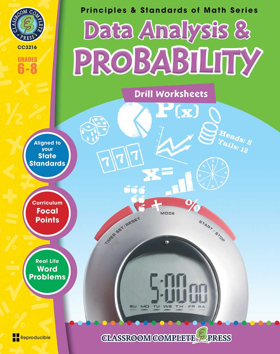 Data Analysis & Probability - Drill Sheets Gr. 6-8 - print book