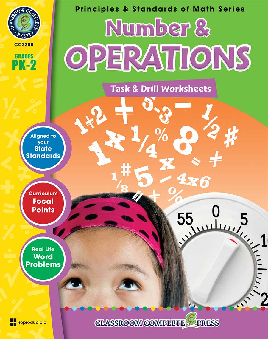 Number & Operations - Task & Drill Sheets Gr. PK-2 - print book