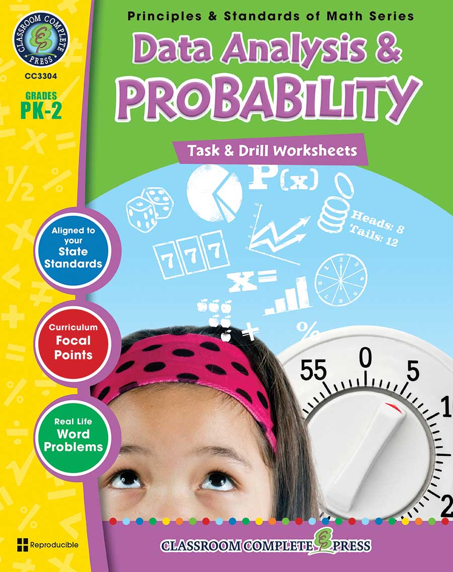 Data Analysis & Probability - Task & Drill Sheets Gr. PK-2 - print book